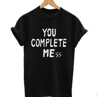 Women Men You Complete Me T-Shirts Top +Free Gift -Random Necklace-115