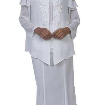 Hosanna 3966  - Plus Size Tea Length Off White Dress 3 Piece Jacket Embroidery