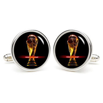 Football cup  cufflinks , wedding gift ideas for groom,gift for dad,great gift ideas for men,groomsmen cufflinks,