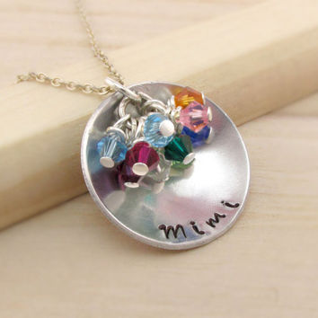 Grandma Mimi Nana Gigi Oma Family Birthstone Necklace with up to 10 Swarovski Birthstone Charms, Gift for Mothers Day, Mommy Jewelry, Family