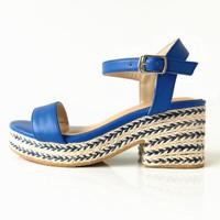 Gracie Woven Wedges - Blue
