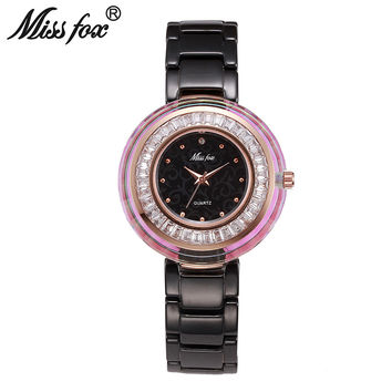 Miss Fox Super Cool Newly Famous Brand Watch Women Logo Xfcs Women Crystal Watches Fire And Water Resistant Ceramic Quartz Watch