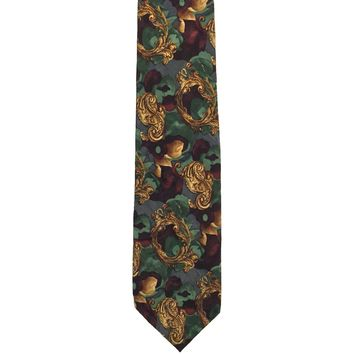 Cellini Collection Foulard Wide Silk Tie - Green