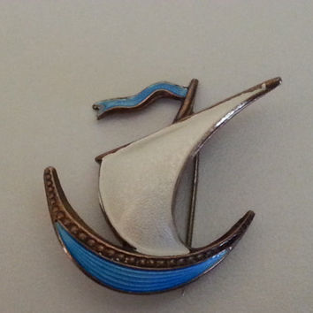 Norwegian Viking Ship Brooch, Silver with White and Blue Enamel Pin, Collectible Vintage Scandinavian Jewelry, Pirate Ship, Nautical Boat