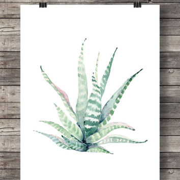 Printable art | Cacti succulent art print | Pastel Watercolor cactus | Hand painted watercolor cactus | cosy decor Printable wall art