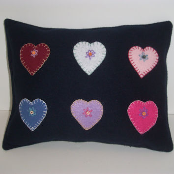 Navy Blue WOOL PILLOW With Handmade Embroidered Hearts for Country Cottage Chic Home Decor, Collage Dorm