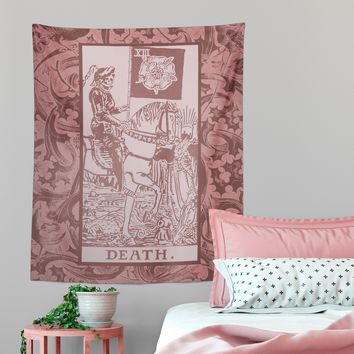 Death Tarot Card Pink Tapestry
