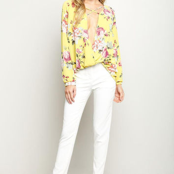 Mustard Wrapped Floral Print Blouse Top
