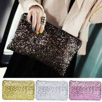 Women Sequins Dazzling Glitter Bling Evening Clutch Bag Handbag