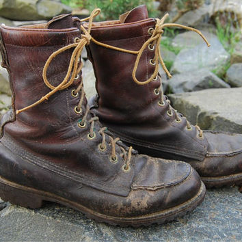 Vtg 60's REI Moc Toe Hunting Boots Super Rustic - Men's 8-1/2