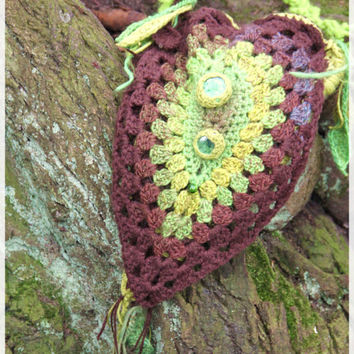 Green leaf handbag, shoulderbag, with a glass beads, hand crocheted, fairy crochet, pixie, from the forest, woodland, nature, leaves bag