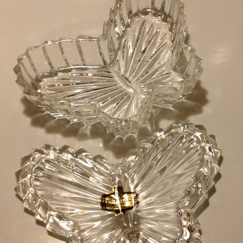 Zajecar 24% Lead Crystal Butterfly Trinket Dish with Lid Yugoslavia Vintage Gift