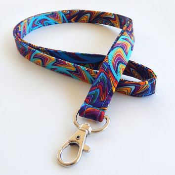 Psychadelic Lanyard / Hippie Lanyard / Colorful Keychain / Bohemian / Key Lanyard / ID Badge Holder / 60s Inspired / ID Lanyard