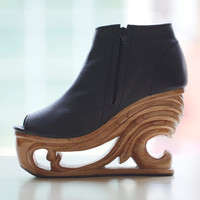 Wood Platform Wedge Heel