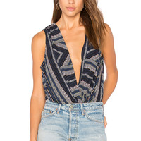 BCBGeneration Faux Wrap Bodysuit in Dark Navy Multi