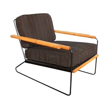 Pre-owned Wroughtan Mid-Century  Iron & Rattan Chair