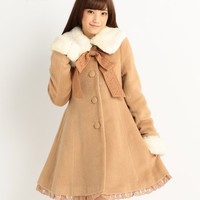 LIZ LISA Elegant Winter Coat w/ Ribbon Brooch