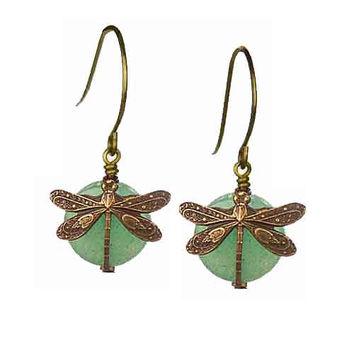 Dragonfly Earrings in Vintage Natural Brass with 10mm Aventurine Stone