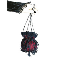 red and black lace wristlets bag in pompadour, victorian, bohemian or gothic style, evening handbag, drawstring vintage pouch bag purse 0170