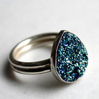 Ocean Blue Drusy Ring in Sterling Silver by luckyduct on Etsy