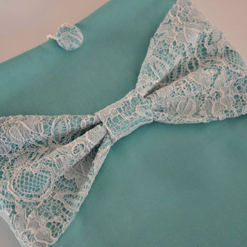 """Macbook Pro 15 Sleeve MAC Macbook Air / Pro 15"""" inch Laptop Computer Case Cover Tiffany Blue with Lace Bow"""