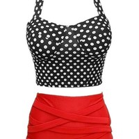 New Touching Pin up Retro High Waist Bikini Set Polka Dots Push Up Swimwear Swimsuit