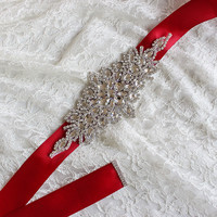Red Trendy Magnificent Crystal Bridal Luxury Female Strap Floral Dress Women Belts Diamond Waistband Girdle Headband for Wedding