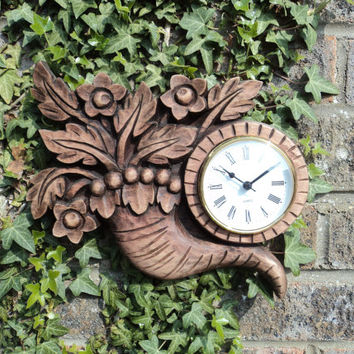 Wood carving, '' the horn of plenty'' wall clock,Wood Art ,handmade,gift,Art4U-in stock