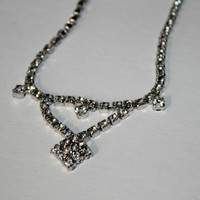 "Vintage Rhinestone Necklace 15"" ,  Silver Tone Rhinestone Choker , Adjustable Length Festoon Necklace , Estate Jewelry , 4 mm Rhinestones"