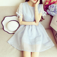 Short Sleeve Bow High Waist Puff Solid Color Temperament Dress