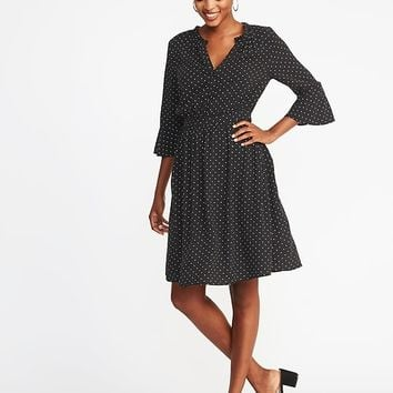 Waist-Defined Henley Dress for Women | Old Navy