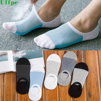 5 pairs/lot Socks Men Slippers Bamboo Fibre Non-slip Silicone Invisible Boat Compression Socks Summer Male Ankle Socks