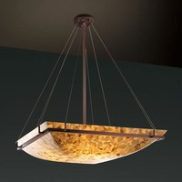 Justice Design Group ALR-9797-25-DBRZ Alabster Rocks! 48-Inch Square Bowl Pendant with Ring