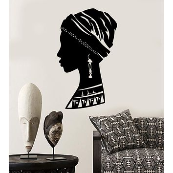 Vinyl Wall Decal African Woman Bust Beauty Salon Ethnic Art Stickers Unique Gift (ig4849)