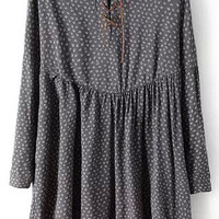 Grey Wheat Print Lace Up Long Sleeve Pleated A-Line Mini Dress
