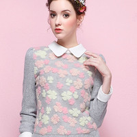Gray 3D Floral Long Sleeve Blouse - Choies.com