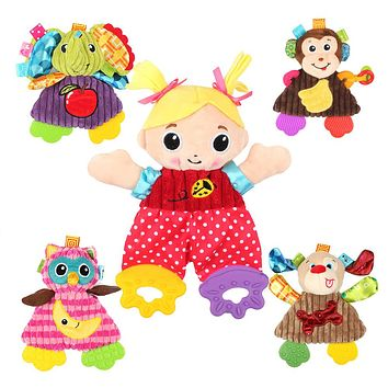 Cute Cartoon Girl Animal Baby Rattles Infant Soft Ring Paper Playmate Doll Toys Christmas Gift Toys
