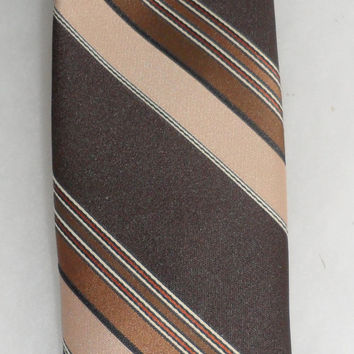1980s - VINTAGE PIERRE CARADIN - Paris - Diagonally Striped Tie- One Hundred Percent Polyester Vintage Tie- Made in Canada for Pierre Cardin
