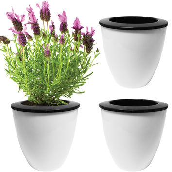 Evelots® 3 Pack Of Self Watering Planters, Small Or Large, White Flower Pots