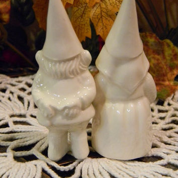 Miniature  Gnome Couple ... Vintage Style DollHouse sized  Gnome Wedding Cake Toppers Aka....The Gnomelyweds