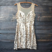 midnight rendezvous gold sequin darling party dress - gold
