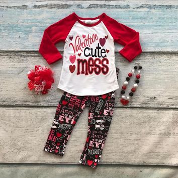 "4PC ""Valentine Cute Mess"" Little Girl's Outfit Matching Necklace and Bow"