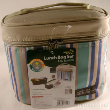 Lock Lock Blue Tan Thermal Double Zip Bag Lunch Box HPL762RB Bottle Containers