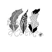 Original feather ink drawing, three feathers drawing, illustration