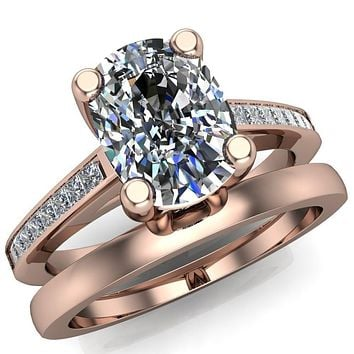 Heroine Cushion Moissanite 4 Prong Diamond Channel Cathedral Ring
