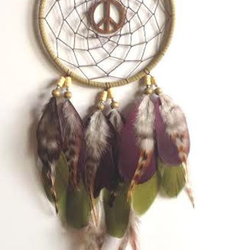 Dream Catcher - Peace Sign - Hippie, Bohemian - Woodland Dreamcatcher