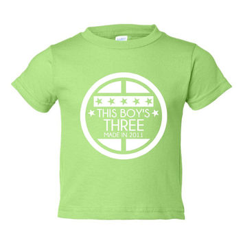 This BOY'S THREE Made In 2011 Happy THIRD Birthday Printed Graphic Fashion Tee Kids Youth Toddler Infant T Shirt Birthday T Shirt Only Here