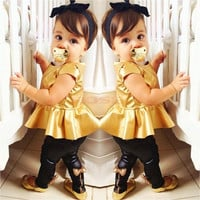 New Baby Girl Suit Shirt Dress + Leggings Pants Casual Short Sleeved 2 Pieces SV006880|26601 Children's Clothing = 1745709572