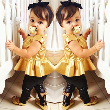 New Baby Girl Suit Shirt Dress + Leggings Pants Casual Short Sleeved 2 Pieces SV006880|26601 Children's Clothing = 5979145409