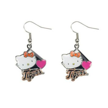 DCCKG8Q MLB Aminco Detroit Tigers Hello Kitty Diamond Dangler Earrings